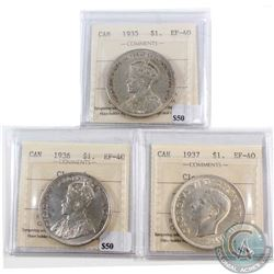 1935, 1936 & 1937 Canada Silver $1 ICCS Certified EF-40 (cleaned). 3pcs