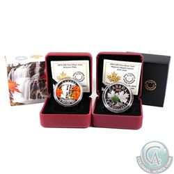 2014 Canada $20 Autumn Falls & 2014 $20 Majestic Maple Leaves with Jade Fine Silver Coins. 2pcs (TAX