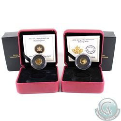 2013 Canada 25-cent Hummingbird & 2015 25-cent Grizzly Bear Pure Gold Coins. 2pcs (TAX Exempt)