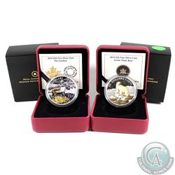 2014 Canada $20 Iconic Polar Bear & The Caribou Colourized Fine Silver Coins. 2pcs (TAX Exempt)