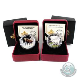 2015 Canada $20 The Majestic Moose & 2015 $20 Baby Animals - Mountain Goat Baby Fine Silver Coins. 2