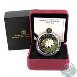 2010 Canada $20 Swarovski Crystal - Crystal Water Lily Fine Silver Coin (capsule scuffed & coin has
