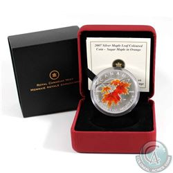 2007 Canada $5 Coloured Silver Maple Leaf - Sugar Maple in Orange (lightly toned). TAX Exempt