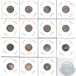 Estate Lot of 15x Canada 10-cent Dated 1938, 1943, 1946, 1947 ML, 1947, 1948, 1950 & 1957-1964. 15pc
