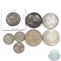 Estate Lot of 8x Canada Silver 25-cent, 50-cent & Silver $1. You will receive 1940, 1950 and 1957 25