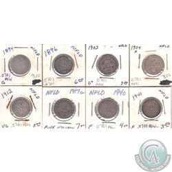 Estate Lot of 8x Newfoundland 10-cent 1894, 1896, 1903, 1904H, 1912, 1917C, 1940 & 1941 in G to F-VF