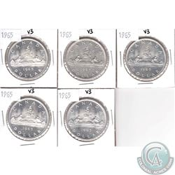 Lot of 5x 1965 Canada Variety 3 Silver $1. 5pcs