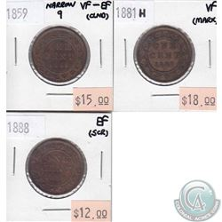 3x Canada 1-cent  1859 Narrow 9, 1881H & 1888 in VF to EF (some coins have minor problems, please vi