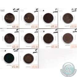 Canada Large 1-cents;  1887, 1888, 1890H, 1893, 1895, 1896, 1898H, 1899, 1900H & 1901 in F to EF (so