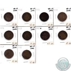 10x Canada 1-cent VG-F  1902-1907, 1907H & 1908-1910 (some coins have minor problems, please view sc