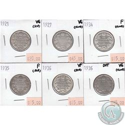 Canada 25-cent  1921, 1927, 1934, 1935, 1936 & 1936 Dot in VG to VF (some coins have minor problems,