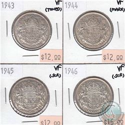 1943-1946 Canada 50-cent VF-20 (some coins have minor problems, please view scans). 4pcs