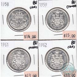 Canada 50-cent BU (MS-63)  1958, 1959, 1961 & 1962 (some coins have minor problems, please view scan