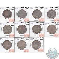 Newfoundland 50-cent  1900, 1909, 5x 1911, 1917C & 3x 1919C in VG to F-VF (some coins have minor pro