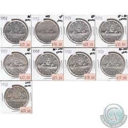 9x Canada Silver $1  1952, 1953 NSS, 1955, 1956, 1957, 1959, 1960, 1961 & 1963 in VF to UNC (some co