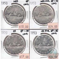 1953 NSS, NSS SWL, SS & SS SWL Canada Silver $1 EF or EF-AU (scratched). 4pcs