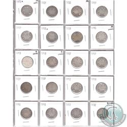 Mixed Page of 20x Canada 25-cent ranging 1872H to 1932  (some coins have minor problems, please view