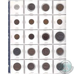 Mixed Page of 20x Newfoundland, Nova Scotia, PEI, New Brunswick & Bank Tokens. 20pcs