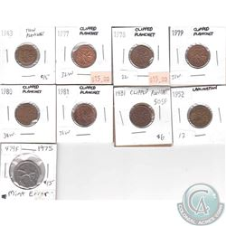 Lot of 9x Canada 1-cent & 25-cent with Clipped Planchet, Thin Planchet or Lamination Errors. 9pcs