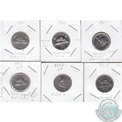 Estate Lot of 6x Canada 5-cent with Errors Dated 1960, 1966, 1967, 1972, 2006 & 2010. Please view ho