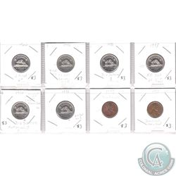 Lot of 8x Canada 5-cent & USA 1-cent with Minor Errors. Please view the holders for info on the erro