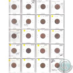 Mixed Page of 20x Canada 1-cent with Minor Errors. Please view the holders for info on the errors. 2