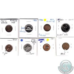 Estate Lot of 8x Canada 1-cent, 5-cent & 25-cent with Minor Errors. Please view the holders for info
