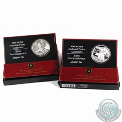 2005 Canada $20 Pacific Rim & 2006 Canada $20 Nahanni National Parks Fine Silver Coins (Tax Exempt)