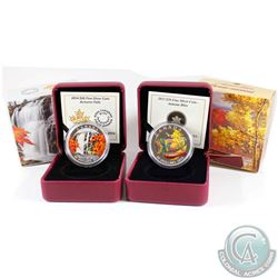 2013 Canada $20 Autumn Bliss & 2014 Canada $20 Autumn Falls Fine Silver Coins (Tax Exempt) 2pcs.