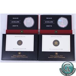 Lot of 2x 2006 Canada $20 Architectural Treasures Series Fine Silver Coins: Notre-Dame Basilica & CN