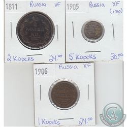 Lot of 3x Russian Coinage Dated 1811-1906 in VF or EF. 3pcs