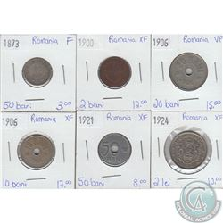Lot of 6x Romanian Coinage Dated 1873-1924 in Fine to Extra Fine. 6pcs