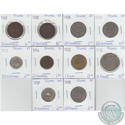 Lot of 10x French Coinage Dated 1862-1955 in Fine to UNC. 10pcs