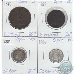 Lot of 4x Spanish Coinage Dated 1870-1904 in VF to AU. 4pcs