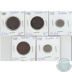 Lot of 5x Swedish Coinage Dated 1887-1949 in VF or EF. 5pcs