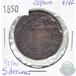 1850 Spain 1/2 Real 5 Decimos F-VF