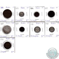 Lot of 9x Russian Coinage Dated 1812-1914 in F to EF. 9pcs