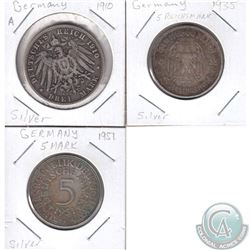 Lot of 3x German Silver Coinage Dated 1910-1951. 3pcs
