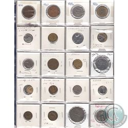 Mixed Page of 20x Miscellaneous World Coinage Dated 1960-1992 From Many Different Countries. 20pcs