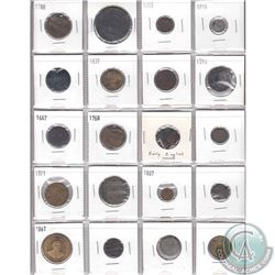 Mixed Page of 20x Old Coinage from Different Countries Dated 1600s to 1900s. 20pcs