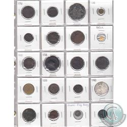 Mixed Page of 20x Old World Coinage from Different Countries Dated 1700s to 1900s. Some of the Coins