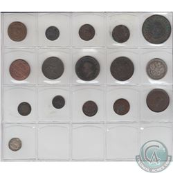 Estate Lot of 16x Mostly Copper Miscellaneous World Coinage Dated 1753-1929. 16pcs