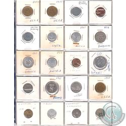 Mixed Page of 20x World Coinage from Many Different Countries Dated 1940-1990. 20pcs