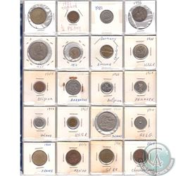 Mixed Page of 20x World Coinage from Many Different Countries Dated 1910-1985. 20pcs