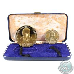 1874-1974 Sir Winston Churchill 2-Coin Silver Medal set Commemorating the 100th Anniversary of the B