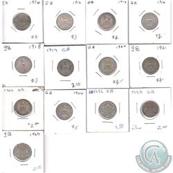 Estate Lot of 13x Great Britain 6 Pence Dated 1896-1940. 13pcs