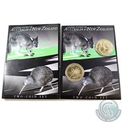 2005 Living Icons of Australia & New Zealand $1 2-Coin Set Featuring the Rowi (Kiwi) for New Zealand