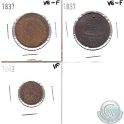 Lot of 3x USA Tokens. You will receive 1837 Mint Drop Hard Times Token, 1837 Executive Experiment Ha