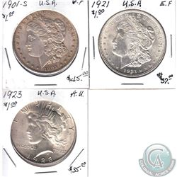 1901-S VF, 1921 EF & 1923 AU USA Silver Dollars. 3pcs