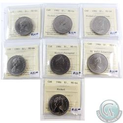 Lot of 7x Canada ICCS Certified MS-64 Nickel $1 Dated 1981, 1982, 1982 Constitution, 1983, 1984, 198